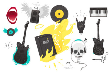 Set of rock music, heavy metal icons, sign, symbols guitar, keyboard, burning speaker, horn gesture, records, singing mouth and skull in earphones, vector illustration isolated on white background