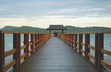 A wooden boat dock in Phu Quoc Island, Vietnam