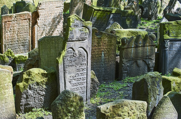 Tombstones on Old Jewish Cemetery in the Jewish Quarter in Prague.There are about 12000 tombstones presently visible. One of the most important Jewish monument
