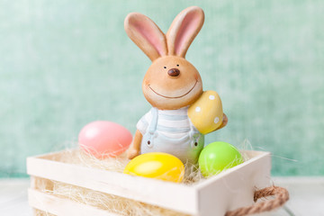 Easter holiday basket with a bunny and eggs