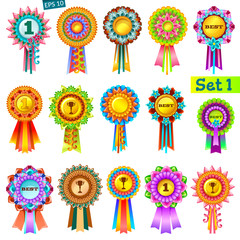 Set of colorful rosettes on white background. Rewards for computer games. Isolated vector illustration.