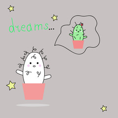 Cute cartoon cactus and juicy with a funny face sticker. White curly cactus. Cartoon illustration of a cactus