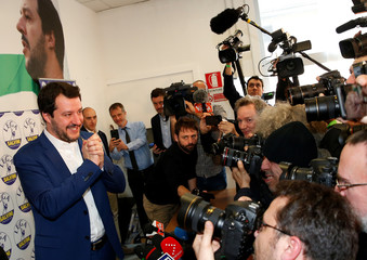 Northern League party leader Matteo Salvini poses at the end of a news conference, the day after Italy's parliamentary elections, in Milan
