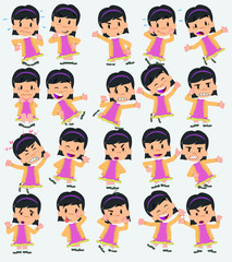 Cartoon character of a asian girl. Set with different postures, attitudes and poses, doing different activities in isolated vector illustrations.