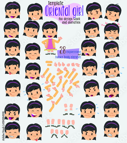asian girl twenty eight expressions and basics body elements