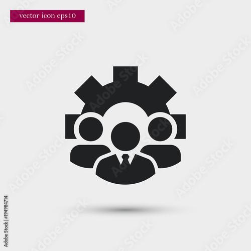 teamwork with gear icon simple hr element illustration work symbol