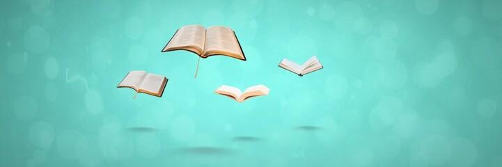 Flying books on blue background