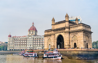 The Gateway of India and Taj Mahal Palace as seen from the Arabian Sea. Mumbai - India