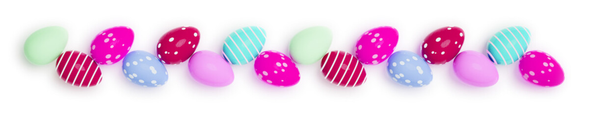 a row of colored easter eggs