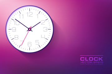 Realistic simple Clock in flat style with numbers, watch on purple and pink background. Business illustration for you presentation. Vector design object.
