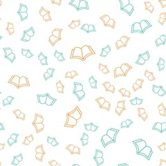Book summer vector pattern. Seamless background illustration. Cute outline cartoon texture, textile fabric, print. Hipster spring wrapping paper, book cover, clothes, and pattern for kids, children.