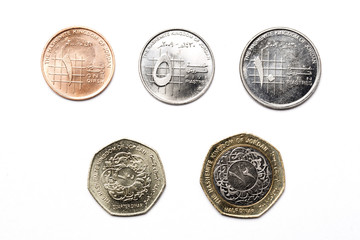 Jordanian coins on a white background
