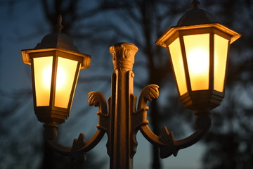 Lamp street old winter