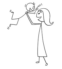 Cartoon stick man drawing conceptual illustration of mother and son enjoying playing together.