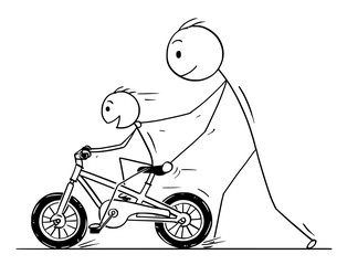 Cartoon stick man drawing conceptual illustration of father teaching and son learning to ride a bicycle or bike.