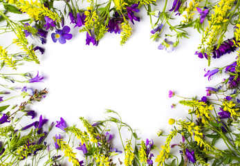 Wildflowers arrangement with copy space on white