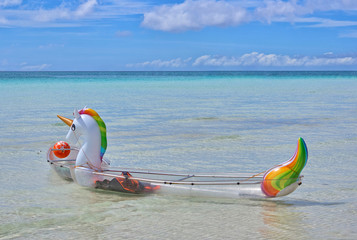 Inflatable unicorn in the ocean