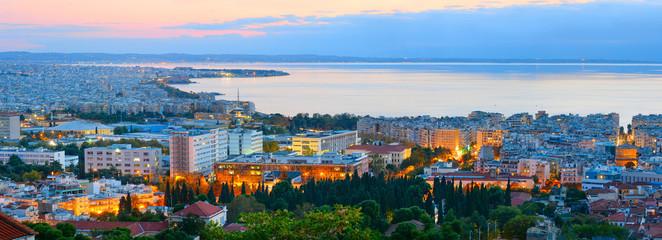 Panorama of Thessaloniki, twilight. Greece.