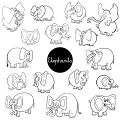 cartoon elephants animal characters set color book