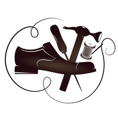 Shoe repair silhouette vector
