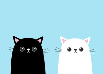 Black white cute cat kitten face set. Cartoon kitty character. Kawaii animal. Funny face with eyes, mustaches, nose, ears. Love Greeting card. Flat design. Blue background Isolated.