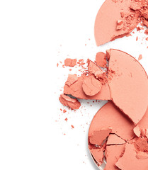 Crushed blush isolated on white background