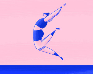 Female athlete long jump