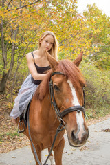 a young, blonde girl posing with a horse, a beautiful girl and a strong horse.