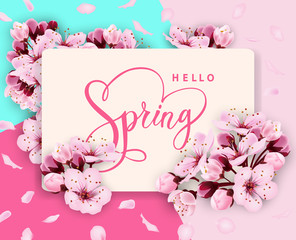 Hello spring vector banner design with flowers Cherry and frame. Spring sale with Cherry blossoms background.