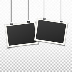Wall Mural - Set of two vintage photo frames. Vintage style. Vector illustration. Photorealistic Vector EPS10 mockups on transparent background. 2 retro photo frame templates hanging on wall for your photos.