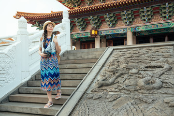 woman walking on traditional chinese stair