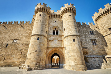 Poster Historical buildings The Knights Grand Master Palace at Rhodes island, Greece