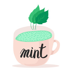 Mug with mint tea pastel pink color. Mint leaves. Isolated illustration on white background. Lettering