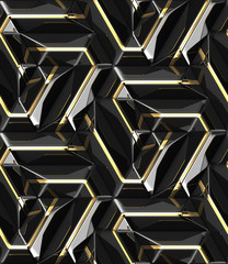 3D design architectural wall black panels with gold decor