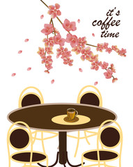 Vector poster with spring. All wakes up, flowers sakura blossom. Typography card, image with lettering.  It's coffee time.