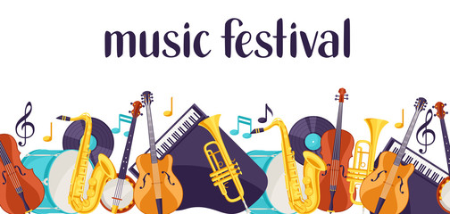 Jazz music festival banner with musical instruments
