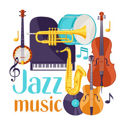 Jazz music festival background with musical instruments