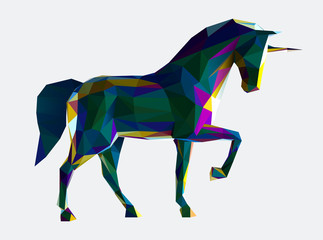 Low poly vector unicorn illustration. Horse illustration made by polygonal shapes and dark iridescent colors.
