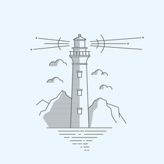 Lighthouse logotype. Line icons