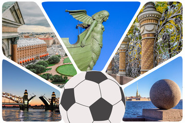 Photos collage/set from St. Petersburg -  Peter and Paul Fortress, arrow of  Vasilievsky Island,  Isaakievsky Cathedral, raised bridge, summer garden and football ball for games, St. Peterburg, Russia