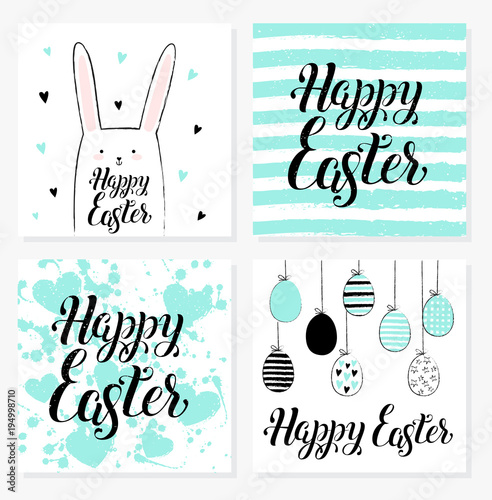 Hand Drawn Happy Easter Postcard Card Invitation Poster Banner