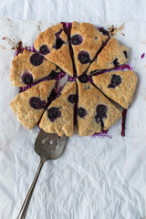 blueberry scones on white textured surface flat lay