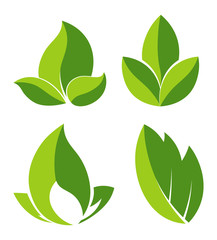 Grean leaves as logotypes for eco companies set