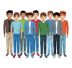 Young men cartoon vector illustration graphic design