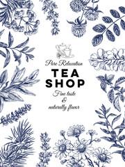 Beautiful vector hand drawn tea herbs Illustration.