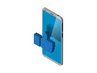 smart phone Isometric with like near screen