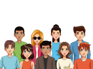 Young people cartoon vector illustration graphic design