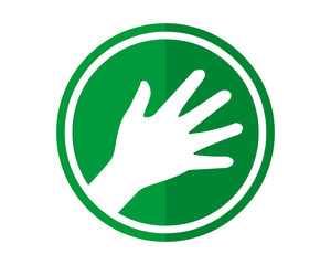 high five green circle pattern image vector icon