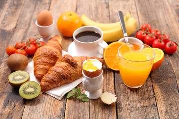 healthy breakfast with coffee, croissant and boiled egg
