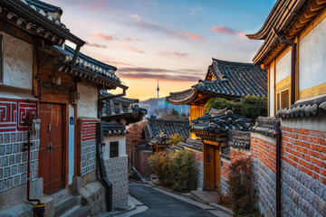 Aluminium Prints Seoul Bukchon Hanok Village of seoul city in Korea.